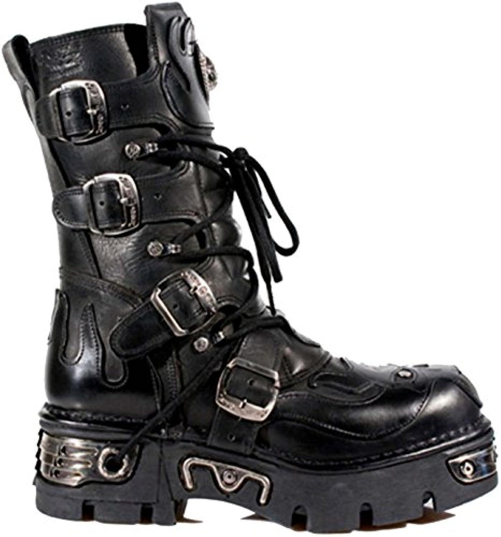 Schwarze Lederstiefel mit silbernem Leder Flamme Detail  Teufel SchScarondel Reaktor Stiefel. Von der New Rock Metallic