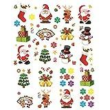 MEJOSER 20PCS Noël Stickers Autocollant Statique Bonhomme Sapins de Noël Flocon de Neige Cadeaux pour Fenêtre pour Noël Maison Magasin Bureau Décoration