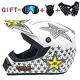 CHEYAL Adult Motocross Helm MX Motorrad Helm ATV Roller ATV Helm D.O.T Zertifiziert Rockstar Multicolor Mit Brille Handschuhe Maske (S, M, L, XL),M