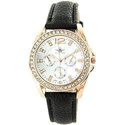 Michael John Damen Damen-Armbanduhr mit Leder schwarz Diamanten CZ Michael John 1326