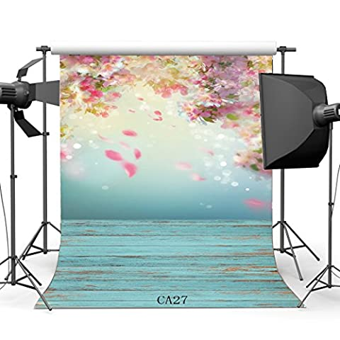 Sunny Star 2X2FT/60X60cm Poly Fabric Photography Backdrops Fancy Cherry Blossom Flowers Blurry Color Painted Stripe Wood Floor Seamless Newborn Baby Toddlers Portraits Background Photo Studio Props CA27