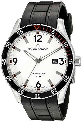 claude bernard Men's 45mm Black Silicone Band Steel Case S. Sapphire Swiss Quartz Watch 53008 3NOCA AO