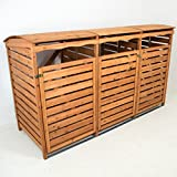 Mülltonnenbox mit Rückwand Holz für 3 Mülltonnen 240l Müllcontainer Mülltonnenverkleidung Mülltonnenhaus