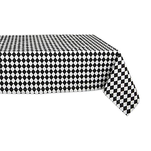 DII CAMZ11304 Everyday or Holiday Tablecloth, Black and Cream 60x84 Harlequin