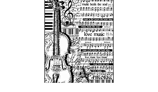 A4 Decoupage Rice Papers Rice Paper Sheet Music with Viola Hobby Colors Stamperia