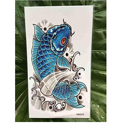 ruofengpuzi Wasserdicht Temporäre Tätowierung Blauer Fisch Karpfen Chinesische Koi Wassertransfer Flash Tattoo False Tattoo Große Größe Männer Weman