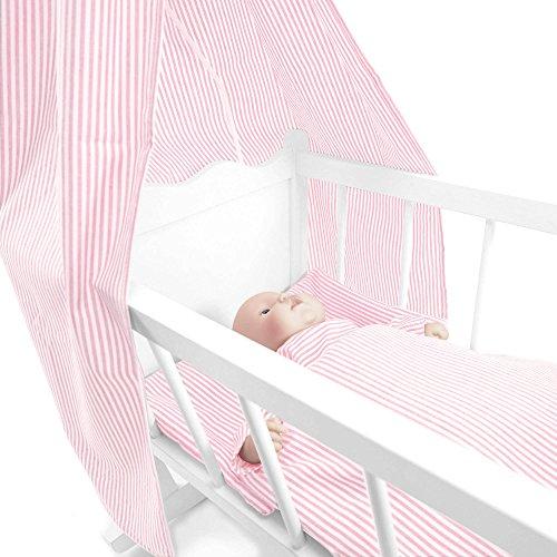 Sugarapple 4-teiliges Set für Puppenwiegen bestehend aus Himmel, Kissen, Bettdecke, Matratze aus Baumwolle, Streifen rosa - Streifen Matratze