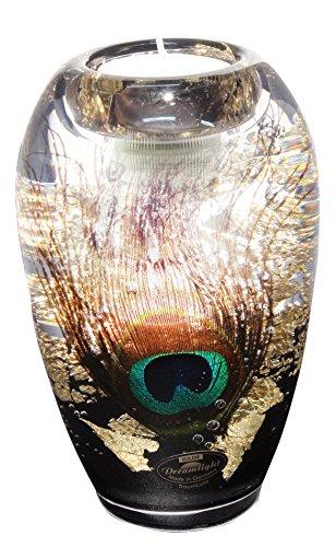 Dreamlight portacandela moderno porte-vent 'pavos in vetro 14x 9cm con luce led * esclusivo fatto a mano con di vere fiori ornées *