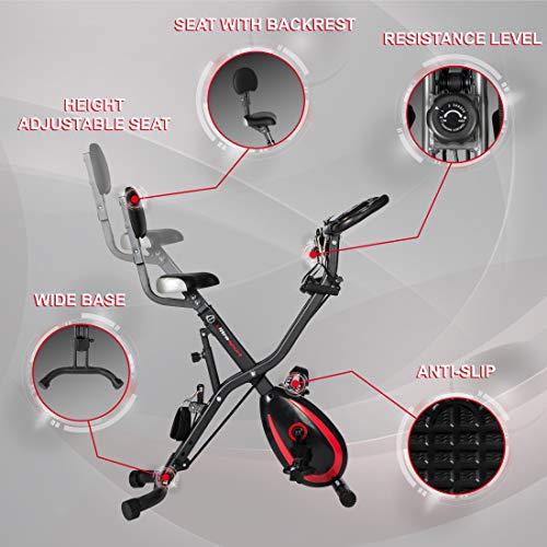 Ultrasport F-Bike 400BS Fahrradtrainer Cross mit Rückenlehne, Zugbandsystem, LC-Display und App, faltbar, matt schwarz - 6