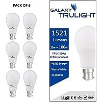 Galaxy Trulight, lampadina LED a baionetta B22da 15W (equivalente a una tradizionale da 100W),colore bianco caldo; confezione da 6