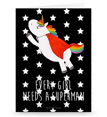 Mr. & Mrs. Panda Grußkarte Einhorn Superman - Einhorn, Einhörner, Superman, Supergirl, Traummann, Superheld, Held, Freundin, Geschenk, Girl, Mädchen Grusskarte, Klappkarte, Einladungskarte, Glückwunschkarte, Hochzeitskarte, Geburtstagskarte