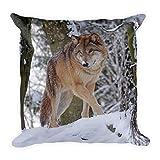 Wolf im Schnee, großes, flauschiges Kissen 45x45 cm, handmade in EU