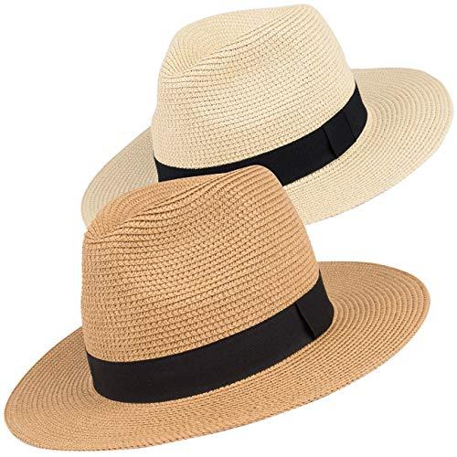 Maylisacc Panama Hut Unisex Stroh Sonnenhut Sommer Fedora Beach Hut für Männer Frauen - 2 Stück (Stroh-sonnenhut Frauen)