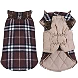 Tineer Wasserdichte Reversible Hundejacke Designer Warm Plaid Winter Hundemäntel Britischen Stil Haustier Kleidung Large Medium Dogs Coat (XXL, Brown)