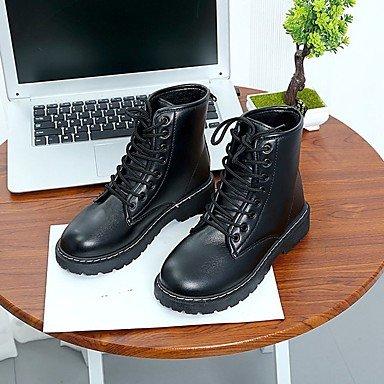 Sanmulyh Femme Chaussures Pu Hiver Automne Bottes De Combat Talon Plat Rond Mi-veau Toe Bottes Pour Casual Blanc Noir Noir