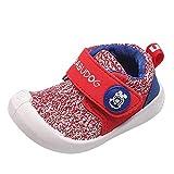 Alwayswin Unisex - Kinder Atmungsaktive Sportschuhe Socken Schuhe Jungen und Mädchen Fliegen Gewebte Hohle Einzelne Schuhe Feste Weiche Mesh Turnschuhe Solide Slip-On Sneaker (18, D rot)
