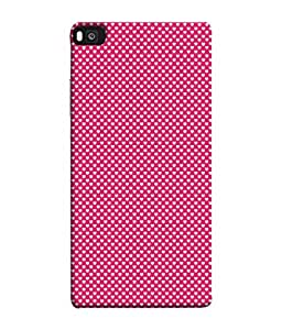 FUSON Designer Back Case Cover for Huawei P8 (Valentine Pink Metallic Hearts Cool Peace Sign Symbol)