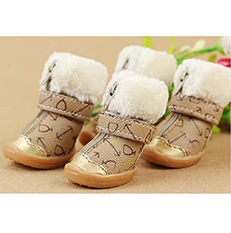Chiot Chaussures Automne Et D'Hiver Cachemire Couleur Pure Chaussures Chaudes Imperméables Chaussures Antidérapantes Teddy Schnauzer Pet Fond Mou Chaussures , 2 (3.9*4.9Cm) , Khaki