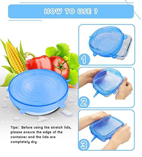 tapas de silicona elásticas,tapas silicona ajustables cocina,tapas silicona,tapa de almacenamiento de alimentos sellada transparente para contenedores de todos los tamaños y formas(12pcs)