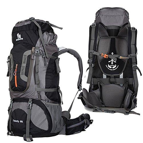 TOYIS Wanderrucksack, 80l, extra groß, multifunktionale Wasserdicht Casual Camping Tagesrucksack für Outdoor-Sport Klettern Bergsteiger 80x 35x 28cm