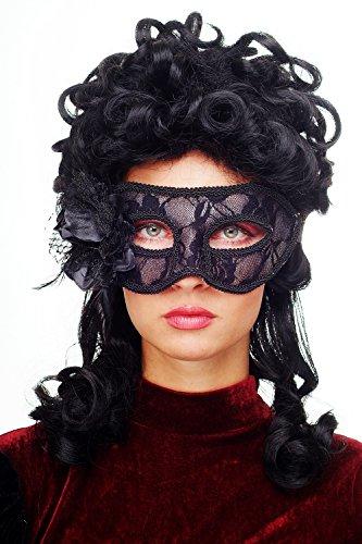 Rose Karneval Venezianische Maske Damenmaske Halbmaske Dominomaske Augenmaske Schwarz Society Maskenball Gothic Spitze Feder LS-004 (Ursprung Des Halloween-maske)