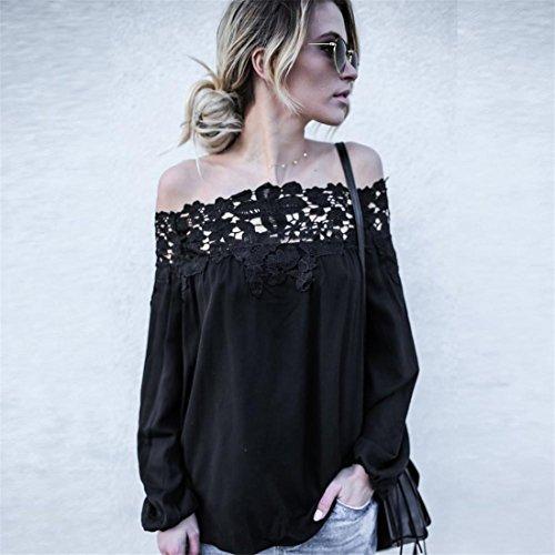 Damen Bluse Btruely Frauen Beiläufiges T-Shirt Off Shoulder Spitze Langarm Top Abbildung 2
