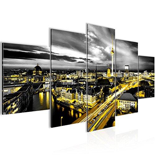 Bilder Stadt Berlin Wandbild 200 x 100 cm Vlies - Leinwand Bild XXL Format Wandbilder Wohnzimmer Wohnung Deko Kunstdrucke Gelb 5 Teilig -100% MADE IN GERMANY - Fertig zum Aufhängen 004351a