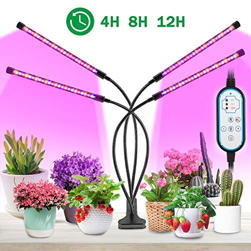 MOREASE Lampes de croissance et horticoles,4 Tube LED Éclairage pour plantes,3 Mode Lumière...