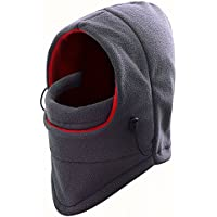 F-fook multiusos cálido forro polar Headwear pasamontañas cuello caliente máscara de cara completa prueba de viento Sombrero parasol para bicicleta moto Ski Snowboard deporte al aire libre, gris