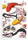 Eau Zone Home Bild - Bild – Kois und Kirschblüten- Poster Fotodruck in höchster Qualität