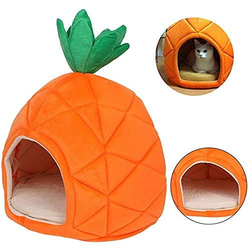 vijTIAN Plüsch-Hundehütte mit Ananas-Motiv, für kleine Hunde oder Katzen, Orange (Hundehütte Deodorizer)