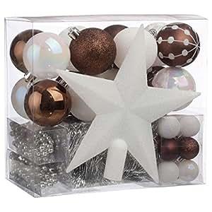 Decorazioni natalizie - Kit 44 pezzi per decorare l'abete : ghirlande , palle e puntale - Tema colorato : BIANCO e CIOCCOLATO
