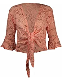 New Womens Floral Lace 3/4 Three Quarter Short Sleeve Ladies Front Tie Up Sequin Shrug Bolero Stretch Cropped Top Cardigan Plus Size