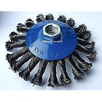 1x Cono Cepillo gezopfter alambre de acero para amoladora angular (Diámetro 115mm) M14