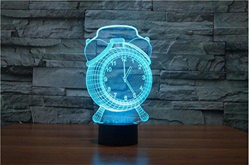YQ Alarm clock 3D Wecker kreative LED leuchtet 3D visuelle Nacht Licht