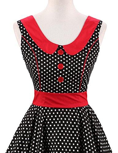 VKStar® Retro Kleider Damen 50er 60er Vintage Kleider sommer ärmellos Rockabilly Abendkleid Schwarz