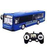 Hugine 6 Canales de Autobús de Control Remoto 2.4G con Luces y Sonidos de Apertura de Puertas de Transporte de Autobuses RC Juguetes para Niños (Azul)