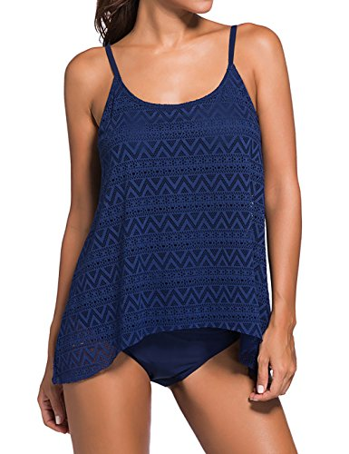 KamiraCoco Bikini Damen Push Up Bikini Set Elegant Welle Spitze Zweitelig Tankini Top mit Slip Stand Badeanzug Bademode Damen Bandeau Tankini Swimwear M (EUR 36-38) Dunkelblau (Bandeau Welle)