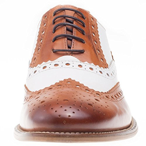 London Brogues richelieu Gatsby Cuir Homme Mocassin Tan / White Leather