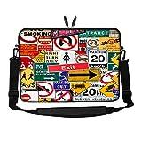 17 - 17,3 Zoll) Laptop Schutzhülle / Tragetasche mit verstecktem Griff und Schultergurt (Verkehrsschild)