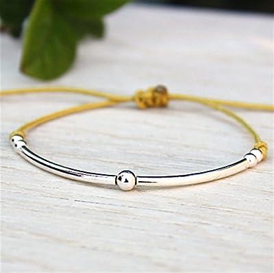 bracelet cordon joncs et perles argent 925