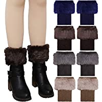 Elcoho 4 Pairs Faux Fur Boot Cuff Socks Short Leg Warmers Knitted Boots Socks for Women and Girls