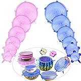 Comius Tapas para Botes de Cocina, 12 Pcs Sin BPA Tapas de Silicona EláSticas, Tapas Silicona Ajustables Cocina, Lavavajillas, Microondas (Azul + Rosa)