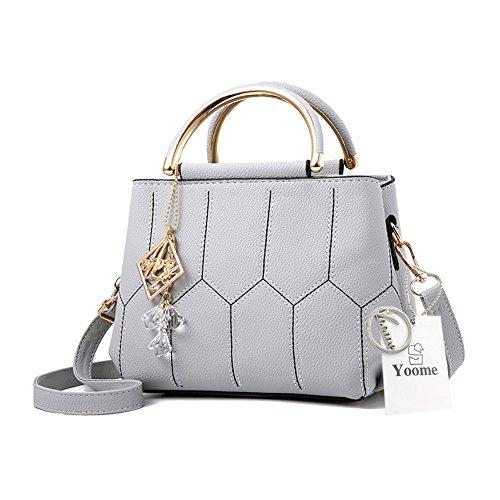 Sacchetti alla moda Yoome per ragazze in scuola superiore Borse eleganti per la borsa della maniglia per le donne Borse per signore - Grigio Grigio
