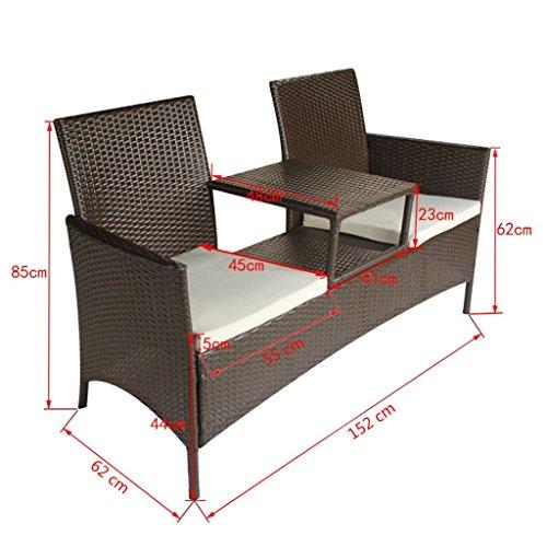 vidaXL 2-Sitzer-Bank mit Teetisch Gartenbank Gartenmöbel-Set Poly Rattan Braun - 5