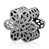 Choruslove Openwork Snowflake Charm 925 Sterling Silver European Style Bead for Snake Chain Bracelet Jewelry