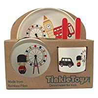 5-Piece London Bamboo Dinner Set for Children by TINKIE TOYS: Kids Dining Set Includes Bamboo Plate, Toddler Cutlery, Baby Bowl and Kids Cup/Mug - Eco Friendly, Toxic Free and Dishwasher Safe