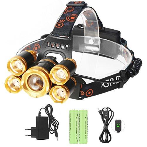 LED Stirnlampe, Neolight LED Kopflampe mit 5 LED 8000LM Wiederaufladbare USB LED Stirnlampen Kopflampen
