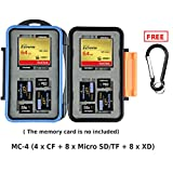 eFonto/JJC MC-4 Speicherkarte Fall Wasserfestigkeit, der Halter für 4 CF + 8 MSD/TF + 8 XD Karten Aufbewahrung