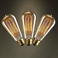 3 x Vintage ST64 E27 Edison Lampadine art deco luce tungsteno Lampadina 60W
